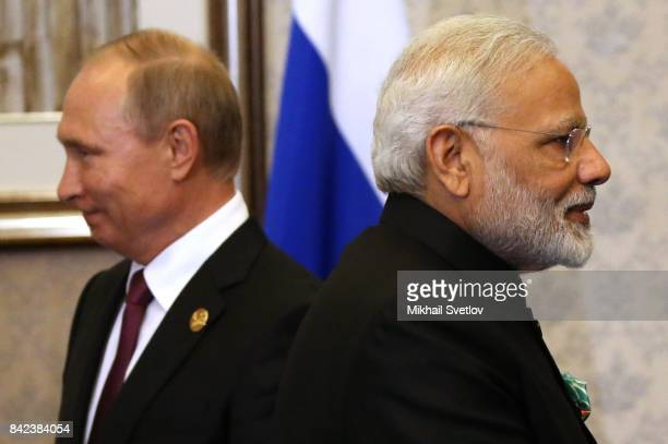 Russian President Vladimir Putin and Indian Prime Minister Narendra Modi seen during their meeting in Xiamen China September2017 Leaders of Russia...