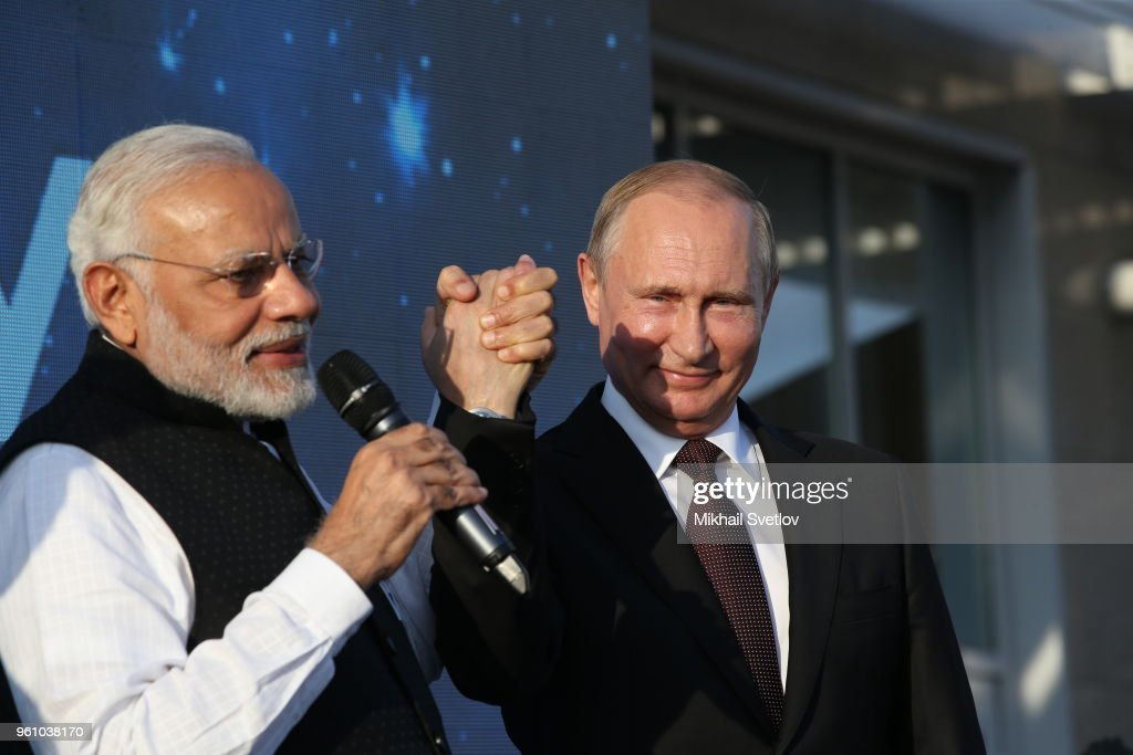 Russian President Vladimir Putin (R) and Indian Prime Minister Narendra Modi (L) visit the Sirius Educational Center for Talented Children on May 21, 2018 in Sochi, Russia. Modi is on a one-day visit to the Russian Black Sea coastal city Sochi for an informal summit with Putin.