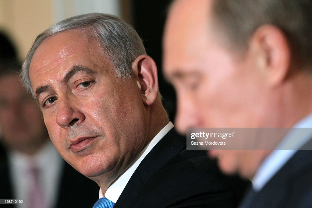 Russian President Vladimir Putin (R) and Israeli Prime Minister Benjamin Netanyahu hold a joint press conference at Bocharov Ruchei state residence on May 14, 2013 in Sochi, Russia. According to reports, Israel's concerns over Russian plans to sell Syrian President Bashar al-Assad an advanced air defense system will be raised.