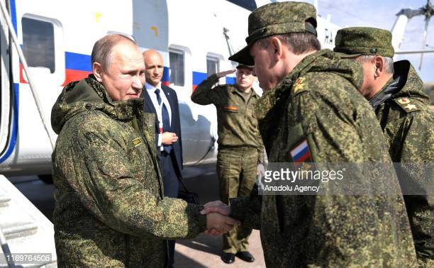 Russian President Vladimir Putin and Kyrgyz President Sooronbay Jeenbekov attend Centre 2019 strategic military drill, in Orenburg, Russia on...