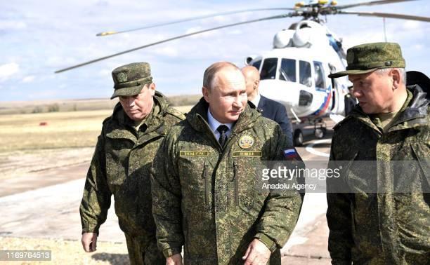 Russian President Vladimir Putin and Kyrgyz President Sooronbay Jeenbekov attend Centre 2019 strategic military drill, in Orenburg, Russia on...