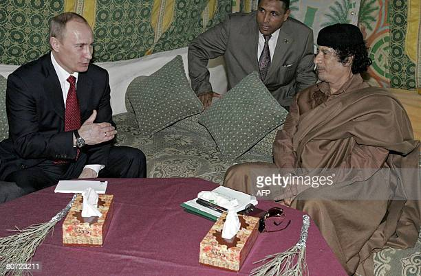 Russian President Vladimir Putin and Libyan leader Moamer Kadhafi meet on April 16 2008 in Tripoli Putin arrived in Libya on April 16 2008 for a...