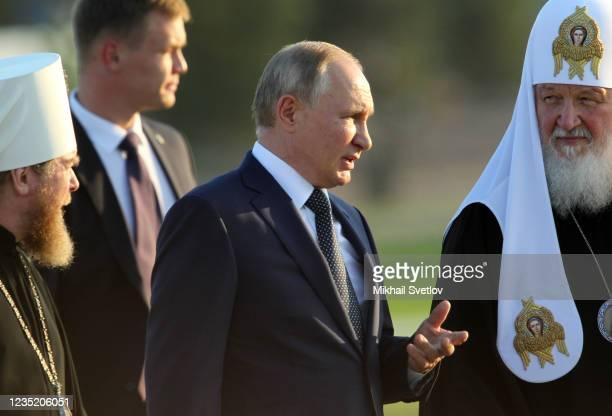 Russian President Vladimir Putin and Orthodox Patriarch Kirill attend the opening ceremony of the monument to Prince Alexander Nevsky and His Guard...