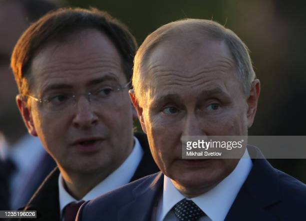 Russian President Vladimir Putin and Presidential Aide Vladimir Medinsky seen during the opening ceremony of the monument to Prince Alexander Nevsky...