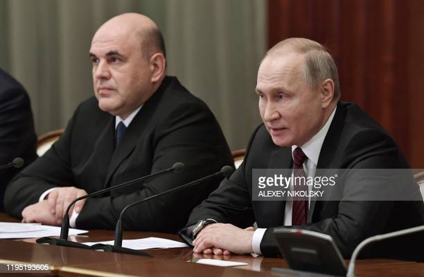 Russian President Vladimir Putin and Prime Minister Mikhail Mishustin meet with members of the new government in Moscow on January 21 2020