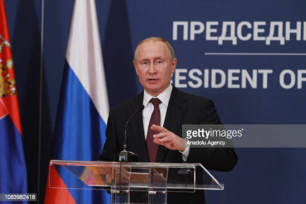 Russian President Vladimir Putin and Serbian President Aleksandar Vucic hold a joint press conference after their meeting in Belgrade Serbia on...