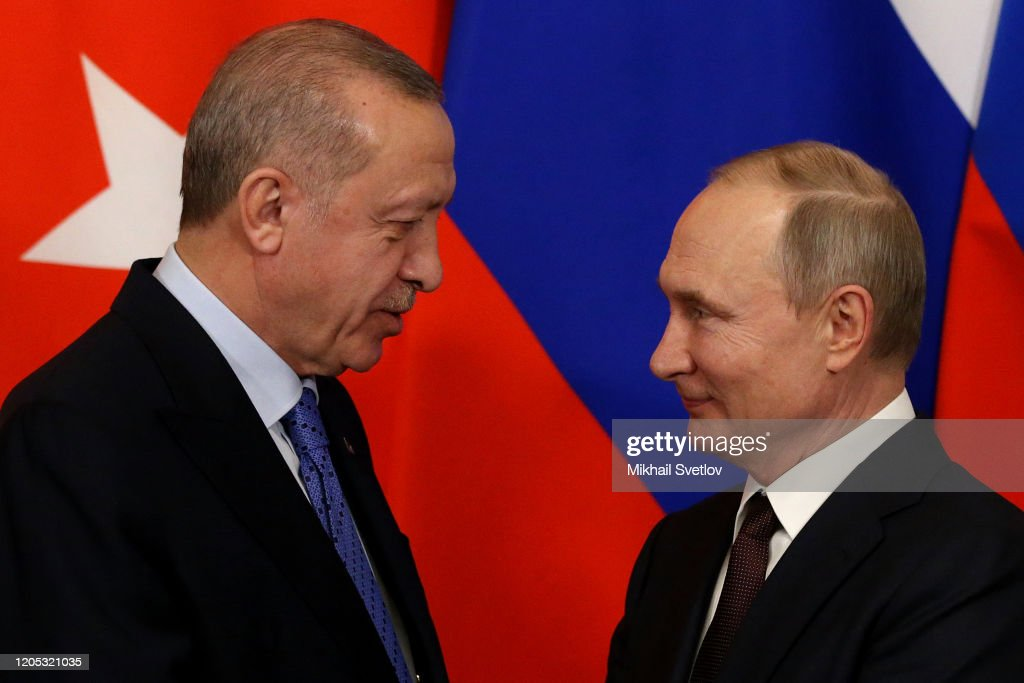 Russian President Vladimir Putin Receives Turkish President Recep Tayyip Erdogan In Moscow : News Photo