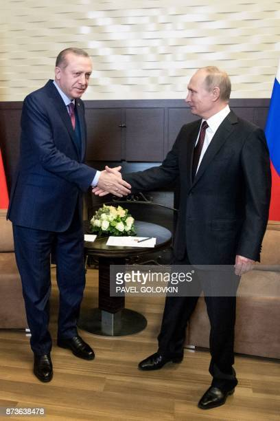 Russian President Vladimir Putin and Turkish President Recep Tayyip Erdogan shake hands as they arrive for their their meeting in the Bocharov Ruchei...