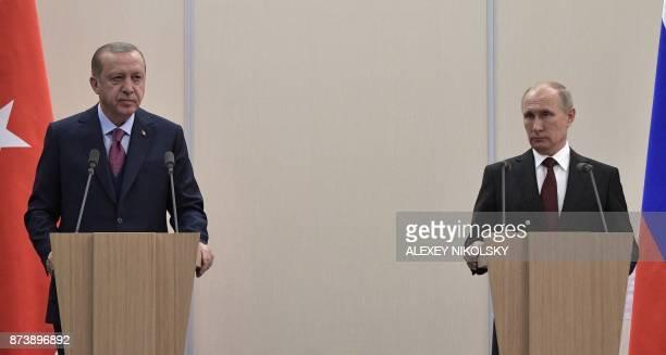 Russian President Vladimir Putin and Turkish President Recep Tayyip Erdogan address a joint press conference in the Bocharov Ruchei state residence...