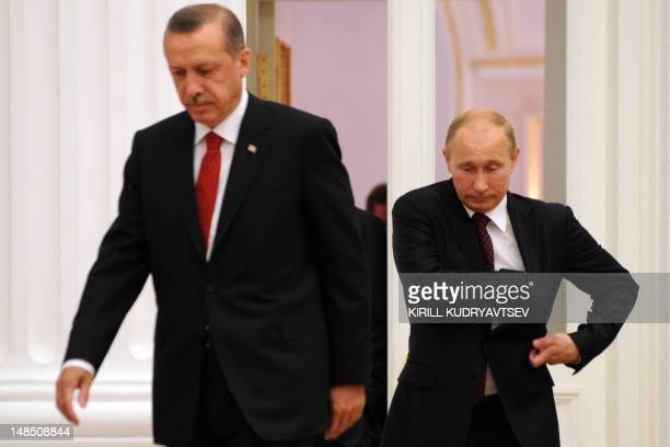 Russian President Vladimir Putin and Turkish Prime Minister Recep Tayyip Erdogan attend on a press conference aftertheir meeting to discuss...