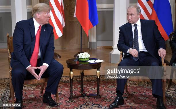 Russian President Vladimir Putin and US President Donald Trump are seen during their meeting in Helsinki Finland on July 16 2018
