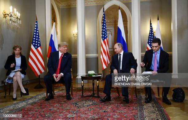 Russian President Vladimir Putin and US President Donald Trump attend a meeting in Helsinki on July 16 2018