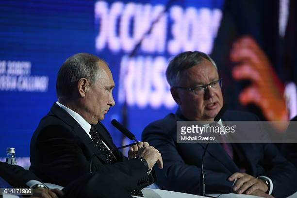 Russian President Vladimir Putin and VTB Group Chairman Igor Kostin seen during the Russia Calling VTB Capital Investment Forum on October 12 2016 in...