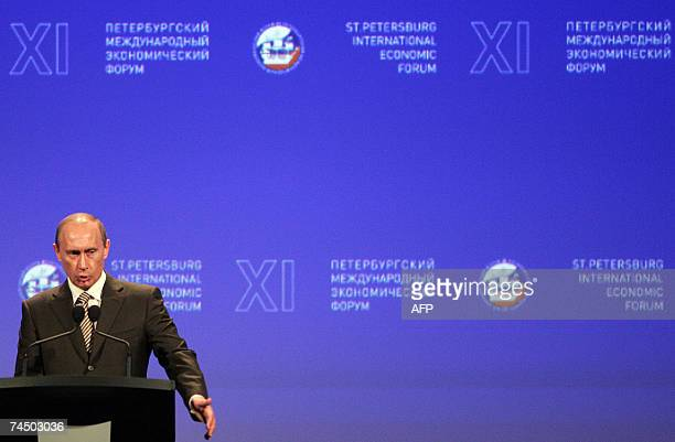 Russian President Vladimir Putin appears during a plenary session at the 11th International Economic Forum in St Petersburg 10 June 2007 AFP PHOTO /...