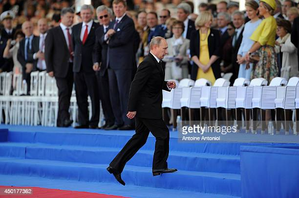 Russian President Vladimir Putin arrives at a Ceremony to Commemorate DDay 70 on Sword Beach on June 6 2014 in Ouistreham France Friday 6th June is...