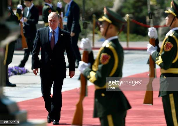 Russian President Vladimir Putin arrives at the Belt and Road Forum at the International Conference Center in Yanqi Lake on May 15 2017 on the...