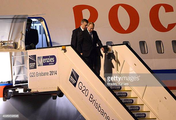 Russian President Vladimir Putin arrives at the G20 international airport on November 14 2014 in Brisbane Australia World leaders have gathered in...