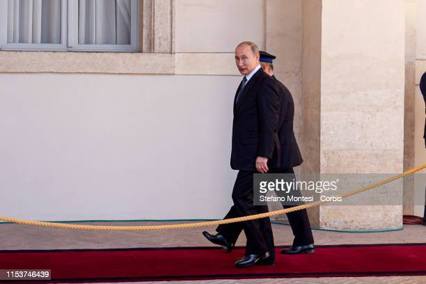 Russian President Vladimir Putin arrives at the Quirinale presidential palace for a meeting with Italian President Sergio Mattarella on July 4, 2019...