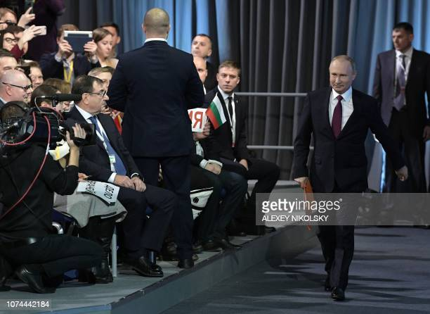 Russian President Vladimir Putin arrives for his annual press conference in Moscow on December 20 2018