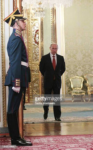 Russian President Vladimir Putin arrives to a meeting during the Summit of Collective Security Treaty Organization in the Kremlin Palace May 2012 in...