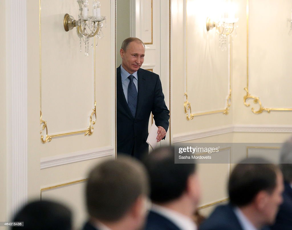 Russian President Vladimir Putin arrives to a meeting of State Council Presidium at the Novo Ogaryovo State Residence on February,24 2015 outside of Moscow, Russia. Putin recently said on Russian TV that a war with Ukraine would be apocalyptic scenario, but probably never happen.