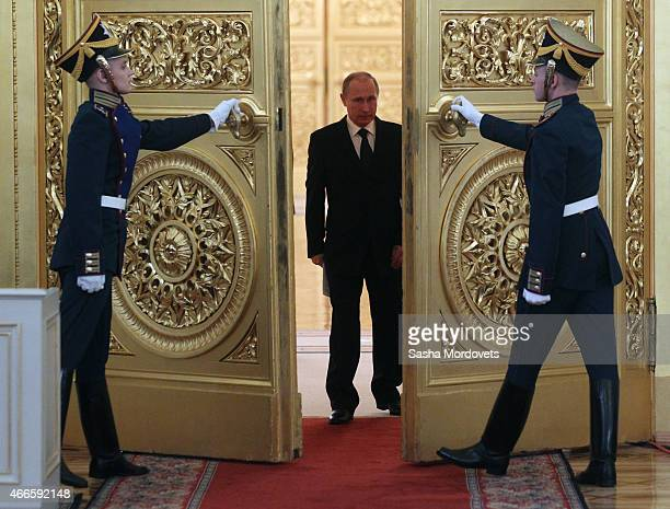Russian President Vladimir Putin arrives to attend a meeting of the Russian Pobeda Organizing Committee in the Grand Kremlin Palace on March 17, 2015...