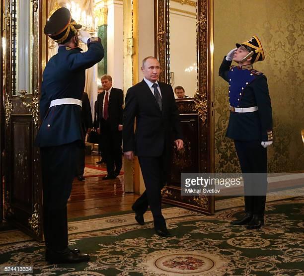 Russian President, Vladimir Putin arrives to meet Uzbek President Islam Karimov during their meeting in the Grand Kremlin Palace on April, 26 2016 in...