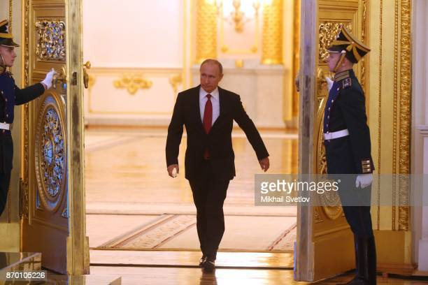 Russian President Vladimir Putin arrives to the reception marking the National Unity Day in Grand Kremlin Palace on November 4 2017 in Moscow Russia...