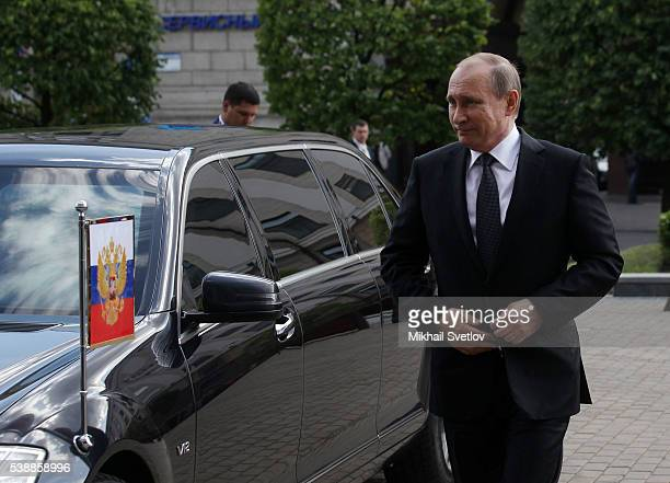 Russian President Vladimir Putin arrives to the Republic Palace on June 8 2016 in Minsk Belarus Vladimir Putin is having a oneday visit to Minsk to...