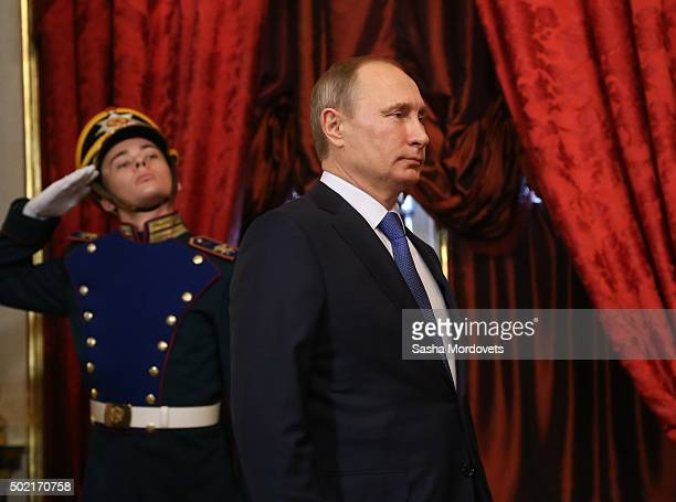 Russian President Vladimir Putin arrives to the Summit of Collective Security Treaty Organisation in Grand Kremlin Palace on December 21, 2015 in...