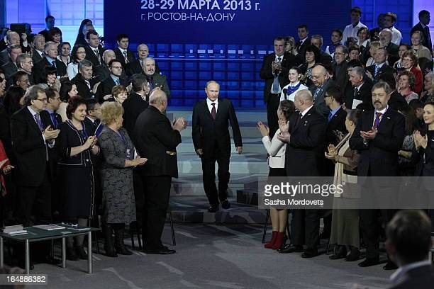 Russian President Vladimir Putin attends a conference of the All-Russia People's Front at VertolExpo on March 29, 2013 in Rostov-on-Don, Russia....