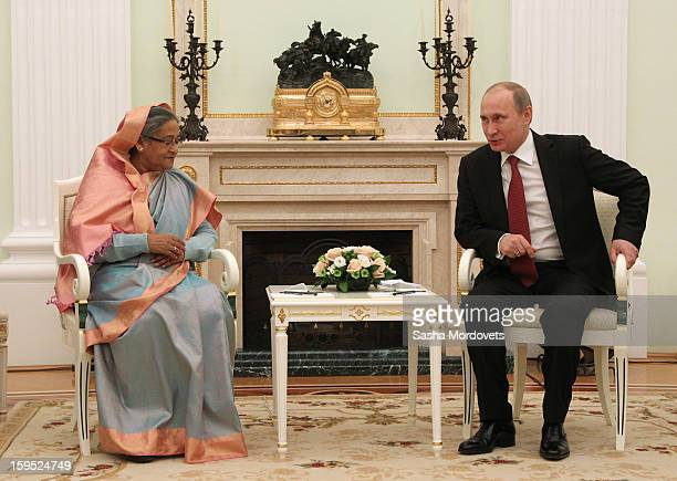Russian President Vladimir Putin attends a meeting with Bangladesh's Prime Minister Sheikh Hasina at the Kremlin on January 15 2013 in Moscow Russia...