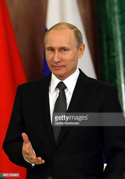 Russian President Vladimir Putin attends a meeting with Belarussian President Alexander Lukashenko in the Grand Kremlin Palace March 3 2015 in Moscow...