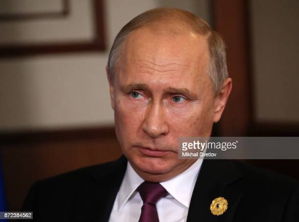 Russian President Vladimir Putin attends a meeting with bilateral meeting with Philippines President Rodrigo Duterte at the APEC Leaders Summit on...