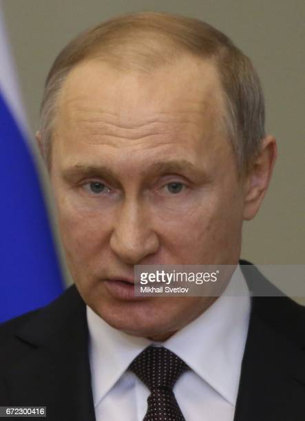 Russian President Vladimir Putin attends a meeting with Council of Lawnmakers April 24 2017 in Saint Petersurg Russia Putin is having a oneday trip...