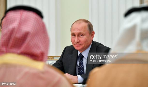 Russian President Vladimir Putin attends a meeting with Saudi Crown Prince Mohammed bin Salman at the Kremlin in Moscow on June 14 2018