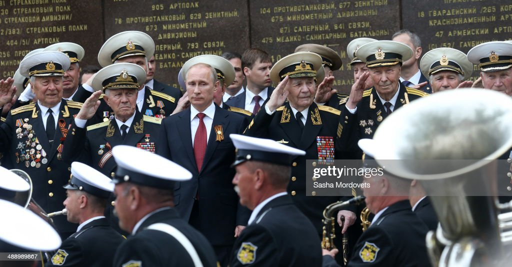 Russian President Vladimir Putin attends a military parade on May 9, 2014 in Sevastopol, Russia. Putin is having a one-day visit to Crimea which marks Victory Day on May 9 and Sevastopol marks 70th anniversary of liberation from German troops..
