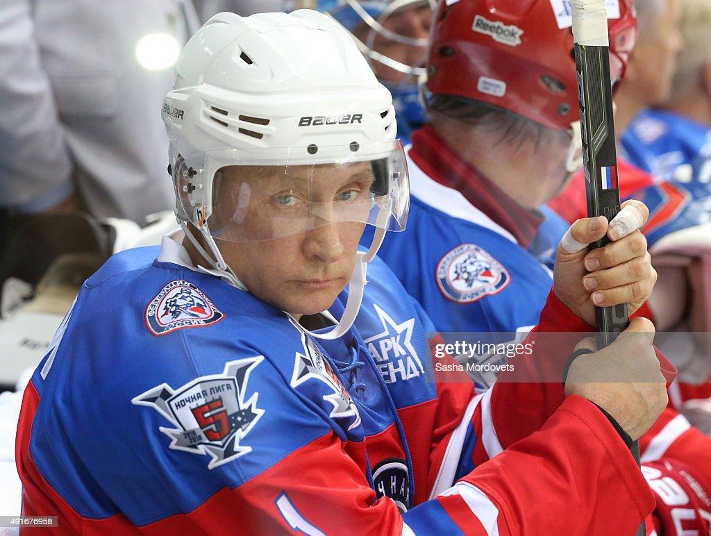 Vladimir Putin Plays Ice Hockey On His 63rd Birthday : News Photo