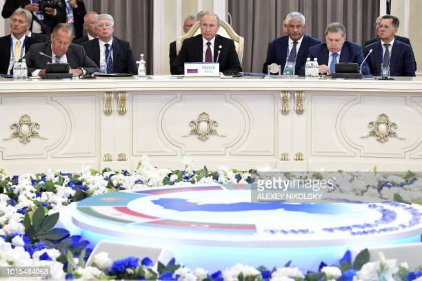 Russian President Vladimir Putin attends a plenary session during the 5th Caspian Summit in Aktau on August 12 2018