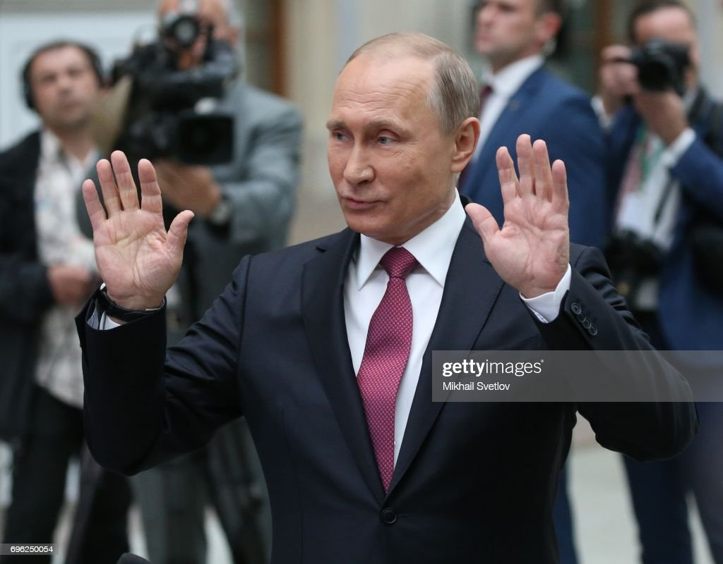 Russian President Vladimir Putin attends a press conference during his annual call-in-show at press center in Gostiny dvor June 15, 2017 in Moscow, Russia.. During his annual call-in-show, a TV marathon lasting for hours he is expected to declare his intention to seek another term in 2018, comment on the last opposition protest and talk about Russia-U.S. interactions.