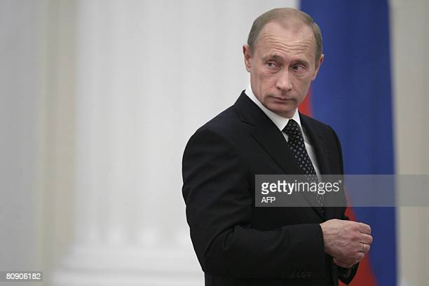 Russian President Vladimir Putin attends a state awards ceremony at the Kremlin in Moscow on April 29 2008 Putin handed out dozens of state awards to...
