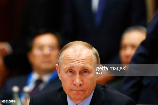 Russian President Vladimir Putin attends a summit at the Belt and Road Forum on May 15 2017 in Beijing China The Belt and Road Forum focuses on the...