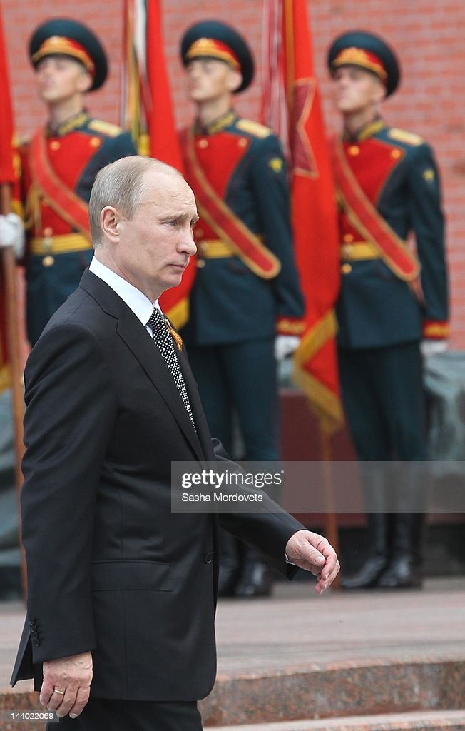 Russian President Vladimir Putin attends a wreath laying ceremony near the Tomb of Unknown soldier near the Kremlin wall on May 8, 2012 in Moscow, Russia. Russia's Victory Day parade will take place on May 9 to celebrate the 67th anniversary of Russia's victory over Nazi Germany in WWII.