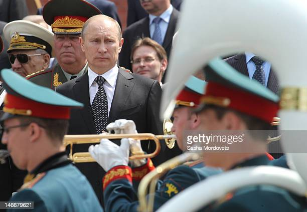 Russian President Vladimir Putin attends a wreath laying ceremony to commemorate the 70th anniversary of the beginning of the Great Patriotic War...