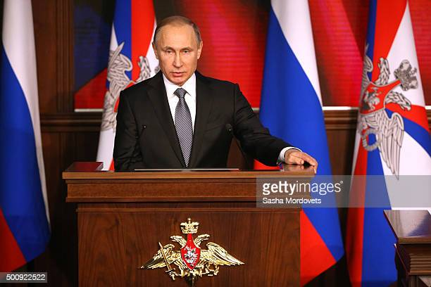 Russian President Vladimir Putin attends an annual meeting with high ranking officers of the Defence Ministry Board on December 11 2015 in Moscow...