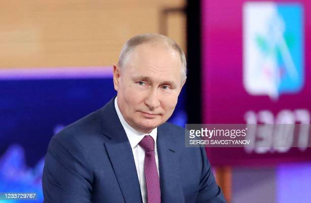 """Russian President Vladimir Putin attends an annual televised phone-in with the country's citizens """"Direct Line with Vladimir Putin"""" at the Moscow's..."""
