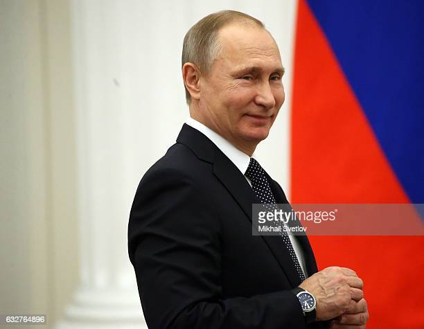 Russian President Vladimir Putin attends an award ceremony at St Catherine Hall of the Kremlin January 26 2017 in Moscow Russia Putin has awarded...