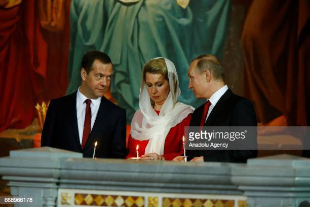 Russian President Vladimir Putin attends an Easter service led by Patriarch Kirill of Russia in Christ the Savior Cathedral in Moscow Russia on April...
