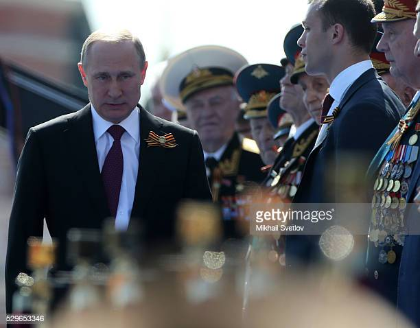 Russian President Vladimir Putin attends during the Victory Day Parade at Red Square May 9 2016 in Moscow Russia Russia marks the 71st anniversary of...