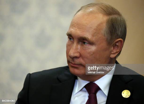 Russian President Vladimir Putin attends his meeting with Indian Prime Minister Narendra Modi (not pictured in Xiamen, China, September 2017. Leaders...